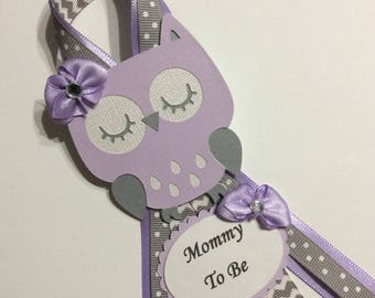 Lavender and grey owl baby shower corsage/Lavender and grey Mommy to be pin/Girl owl baby shower corsage