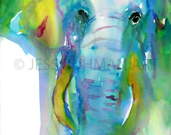 Elephant Watercolor Painting Print, Elephant Abstract Art, Elephant Nursery Art, Zoo Animal Art, Safari Art, Watercolor Print