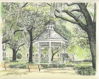 Whitefield Square Savannah - Hand Watercolored Print