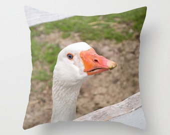 Goose Pillow Cover, Animal Accent Cushion Case, Handmade in Canada, Rustic Farmhouse Decor, Ranch House Accent, Farmer Birthday Present