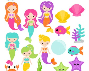 Colorful Mermaids Clipart Set - clip art set of mermaids, sea creatures, cute mermaid - personal use, small commercial use, instant download