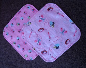 Baby Girl Wash Cloth - Set of Two Wash Cloths - Oversized - Soft Flannel - Lady Bug Pink Design