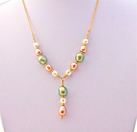 wedding necklace with baroque swarovski pearls