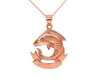 14k Rose Gold Pisces Necklace