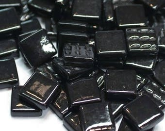 "12mm (1/2"") Black Recycled Glass Square Mosaic Tiles//Mosaic Supplies//Craft Supplies"