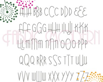 MODERN MONOGRAM Embroidery Font Design  three letter monogram  All letters includes bx  #652