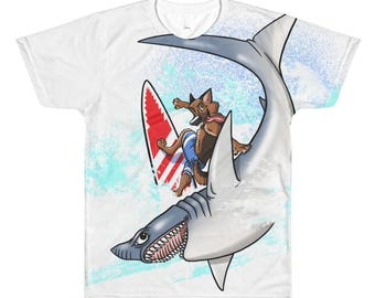 Surf Dog All-Over Printed T-Shirt, Garment, Surfing, Sports, Waves, Ocean, Great White Shark, Surf Board