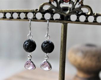 DIFFUSER EARRINGS ROSE, october birthstone, lava rock aromatherapy earrings, diffuser jewelry, swarovski crystal, drop earrings