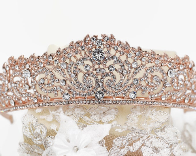 Swarovski Crystal tiara, Rose gold or silver, wedding crown, sweet 16, quinceanera, Bridal, prom, hair accessory, pageant headdress,
