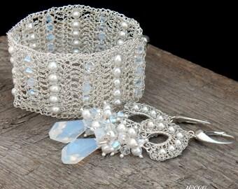 Original  Elegant Silver Pearl Wedding Jewelry, White Pearls and Opal White Swarovski Crystals, Crochet Unique Bridal Set, Lace Jewelry,