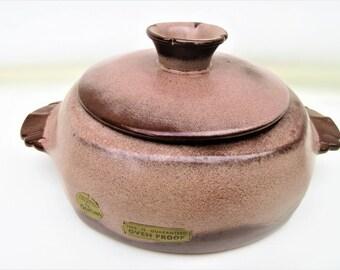 Vintage Frankoma Pottery | Bean Pot | Drip Glaze Pottery | Casserole Dish with Lid | Brown Satin Frankoma | Lidded Pot | Soup Pot