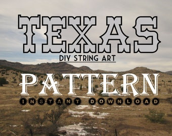"Texas - DIY State String Art Pattern - 10"" x 10.5"" - Hearts & Stars included"