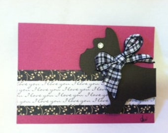 Set of 5 Handmade Scottie Dog Blank Note Cards