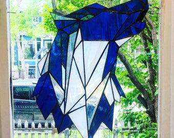 Geometric Wolf Suncatcher - Stained Glass