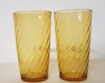 Vintage Pair of Amber Glass Swirl Juice Glasses Mid Century Modern Art Deco