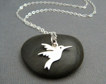 tiny silver hummingbird necklace. small sterling whimsical animal pendant spirit totem simple joy life symbol jewelry. bird charm 5/8""