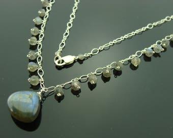 Flash Labradorite 925 Sterling Sliver Necklace