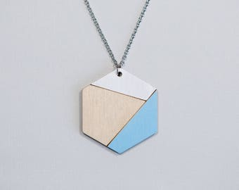 Hexagon Pendant, Sky Blue & White Wooden Necklace, Minimalist Geometric Jewelry, Laser Cut Wood Necklace, Simple Necklace