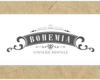 Custom Logo Design - PreDesigned Logo - PreMade Logo - Vector Logo - OOAK Logo -  BOHEMIA Logo Design - Vintage Logo - Antique Logo