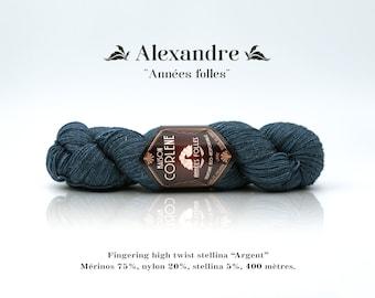 "Alexander - Roaring twenties - nylon stellina ""Silver"" high twist Merino"