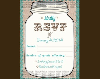 Template Mason Jar RSVP Card,teal,rustic wedding,burlap lace jar rsvp,personalized rsvp,custom color rsvp,country wedding,vintage wedding