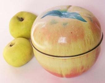 Vintage Apple Shaped Candy Tin ~ Mid Century Decor ~ Rustic Kitchen ~ Farmhouse Kitchen ~ Kitsch Fruit ~ Home Decor ~ Country Kitchen