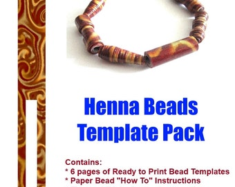 Henna Paper Beads - DIY READY to PRINT. 6 Templates & Tips - Instant Download