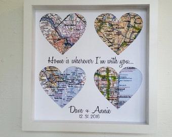 Wedding Gift for Couple Custom Wedding Gift Heart Map FRAMED Print Map Gift for Couple Personalized Wedding Gift Wedding Memento