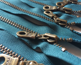 YKK Metal Teeth Zippers- Dark Teal Color 390- Antique Brass Donut Pull- 5 Pieces- Available in 7,9,10,11, and 14 Inches