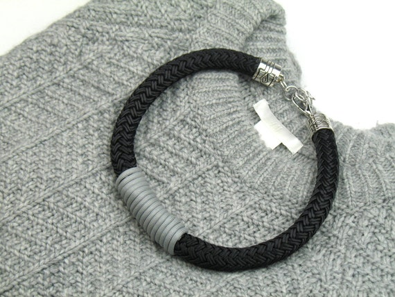 Chunky Rope Necklace in Black Boating Cord Wrapped in Grey Mokuba Cord, Free Shipping