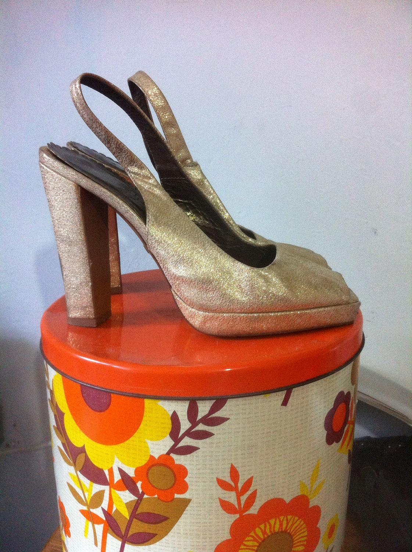 Rare or Slingback Peep Toe pompes - Robert Robert - Robert - pile talon - Glamour Vintage - rétro Pin Up Marilyn - AU8/39 c52845