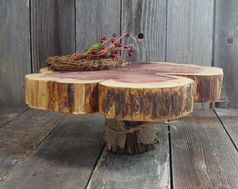 """Rustic Cake Stand, Tree slice + Stump, 15"""" x 2"""" height 6"""", one of a kind, Texas rustic woodsy wedding, party, event, dessert"""