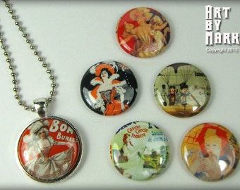 French Poster Inspired Magnetic Interchangeable Pendant Gift Set