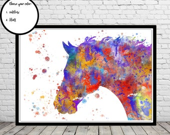 Horse, wild horse, watercolor print, watercolor horse, animal print, horse print, horse art, horse art, horse head (3979b)