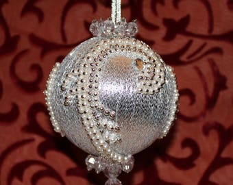 Vintage Christmas Ornament, Vintage Handmade Ornament,Silver Ornament, Christmas Beaded Ornament,Silver Christmas Ornament