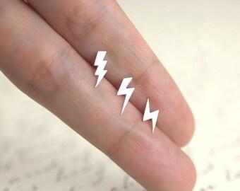 Lightning Bolt Earrings, 100% sterling silver, Tiny Lightning Bolt Studs, Lightning Studs
