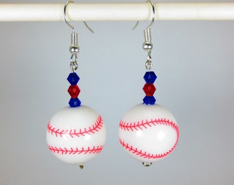 Baseballs with red and blue gems Dangle Earrings