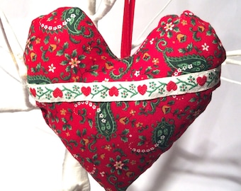 Crafty Christmas! Handmade Hand Stitched Red Stuffed Heart Paisley Ornament/Shabby, Cottage, Country Patchwork Chic/Gift/Cute/Love