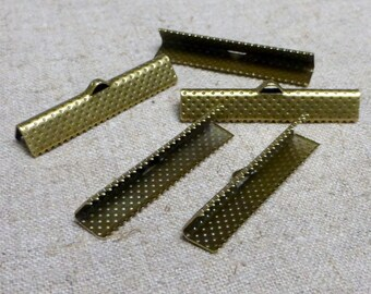 free shipping in UK - 30 pcs Antique Bronze Ribbon Crimp End Cap 35 mm