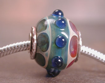 European Charm Bead, Silver Cored and Capped, Lampwork Boro Glass Bracelet Bead, Large Hole Beads, Divine Spark Designs
