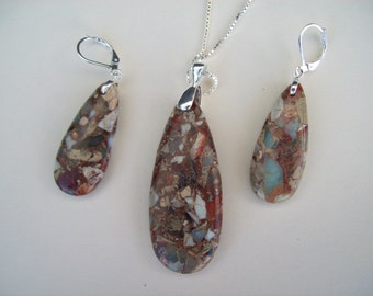 Leopard Skin Jasper Pendant and Earring Set - Sterling
