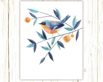 Tropical Parula Print -- bird art -- colorful bird art by stephanie fizer coleman illustration