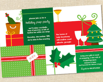 Sweet Wishes Christmas Holiday Wrapping Prep Party Invitations- PRINTED - Digital File Also Available