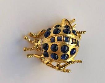 14K Yellow Gold and Sapphire Ladybug Pin