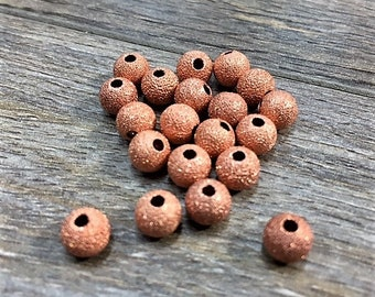 6mm Round Stardust Copper Beads, 20 PC Pack, Shiny Copper Bead, 6mm Copper, 6mm Metal, 6mm Bright Copper, Stardust Bead, 6mm Round Copper