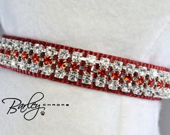 "Radiance Red Rhinestone Dog Cat Pet Collar - 3 Row Preciosa® Light Siam & Crystal 5/8"" Wide 12"" 14"" 16"""