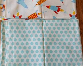4 Yards Rocket Ships and Polka Dot Cotton Fabric Quilt Kit,  Coordinating Cotton Fabric Quilt Kit - Quiltsy Destash Party SALE