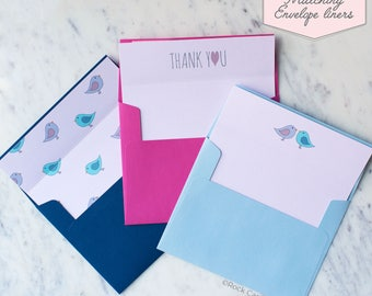 Printed Matching Envelope Liner   A2 Sized Liner   Wedding Thank You Card   Bridal Shower Gift   Thank You From The Newlyweds or Mr & Mrs