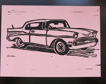 Classic Car - block printed postcard