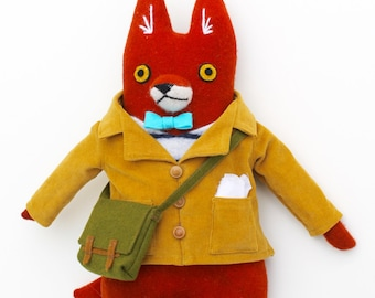Little Boy Fox Fellow wool doll plush schoolboy